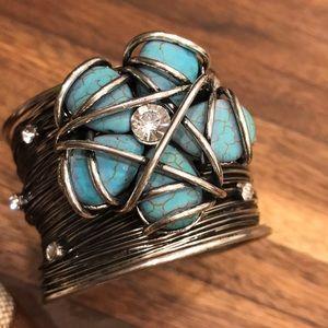 Jewelry - Silver Wire Cuff Bracelet with Blue stone